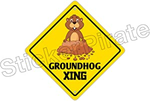 StickerPirate Groundhog Crossing Funny Metal Novelty Sign Aluminum