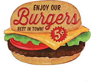 Open Road Brands Enjoy Our Burgers 5 Cents Vintage Tin Metal Sign