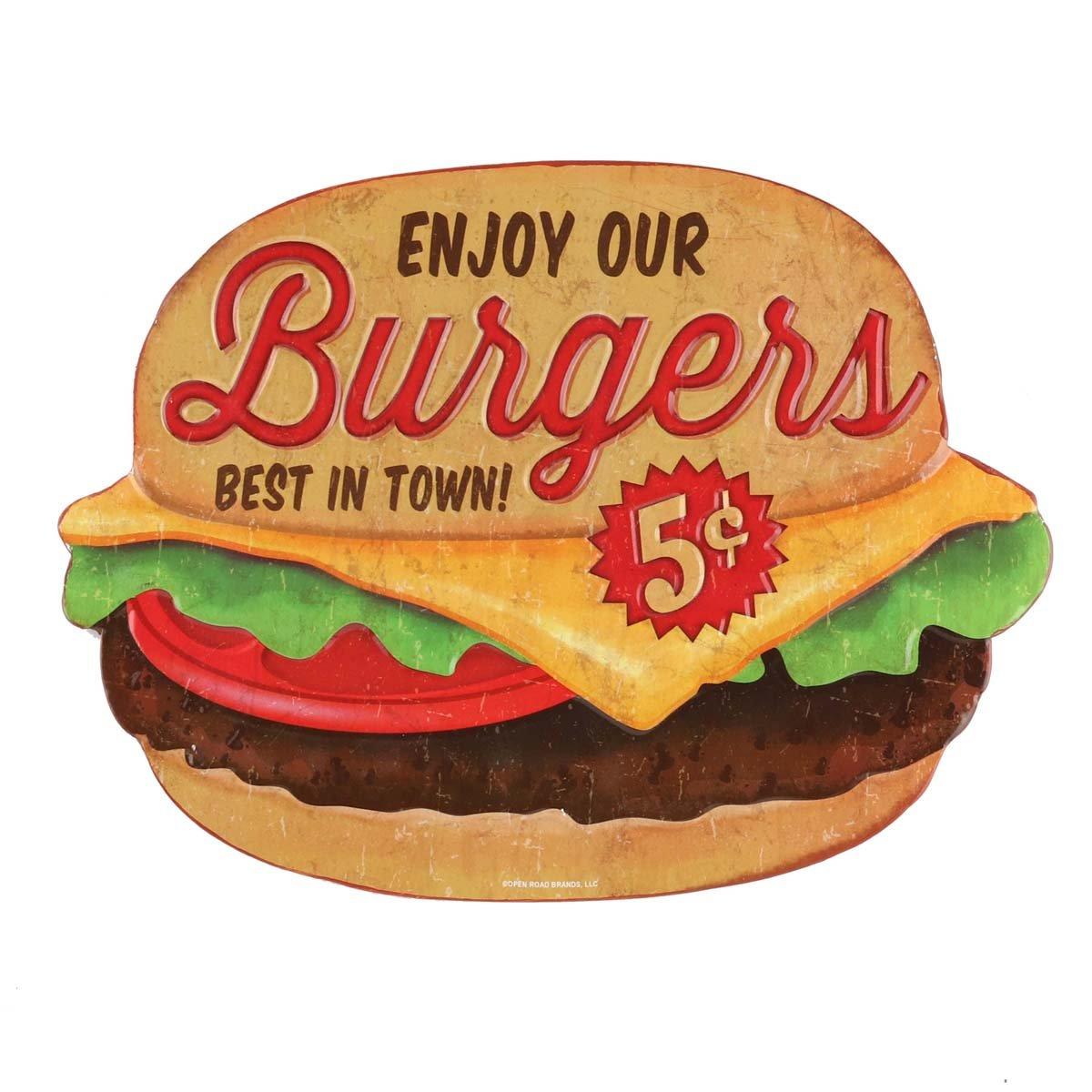 Open Road Brands Burgers Die Cut Embossed Tin Sign