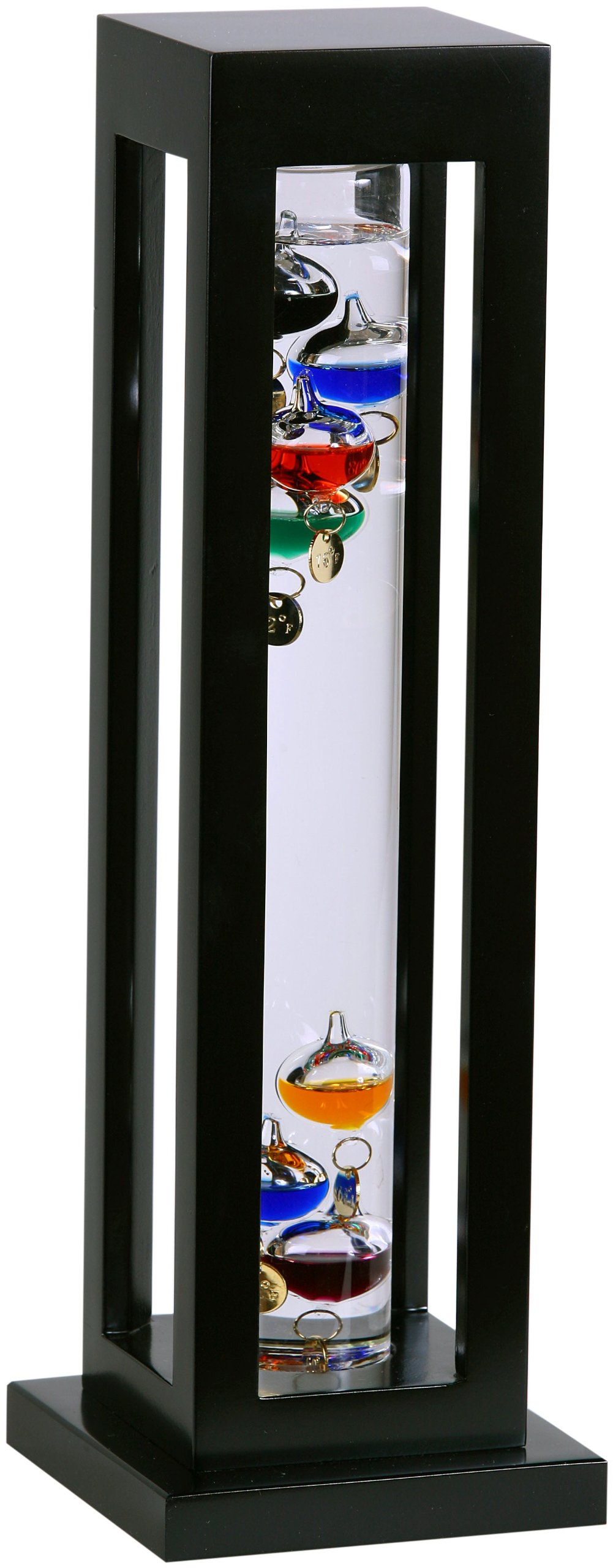 G W Schleidt YG824-B Galileo Thermometer Square Black Finish Multicolored