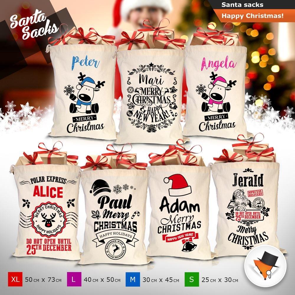 Personalizzato calza di Natale con Babbo Natale, qualsiasi nome molti nuovi motivi e taglie, color_name, Small Design P01 Lord Fox