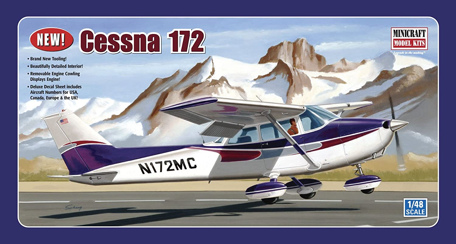 Amazon.com: Minicraft Models Cessna 172 (Fixed Gear) 1/48 Scale: Toys &  Games