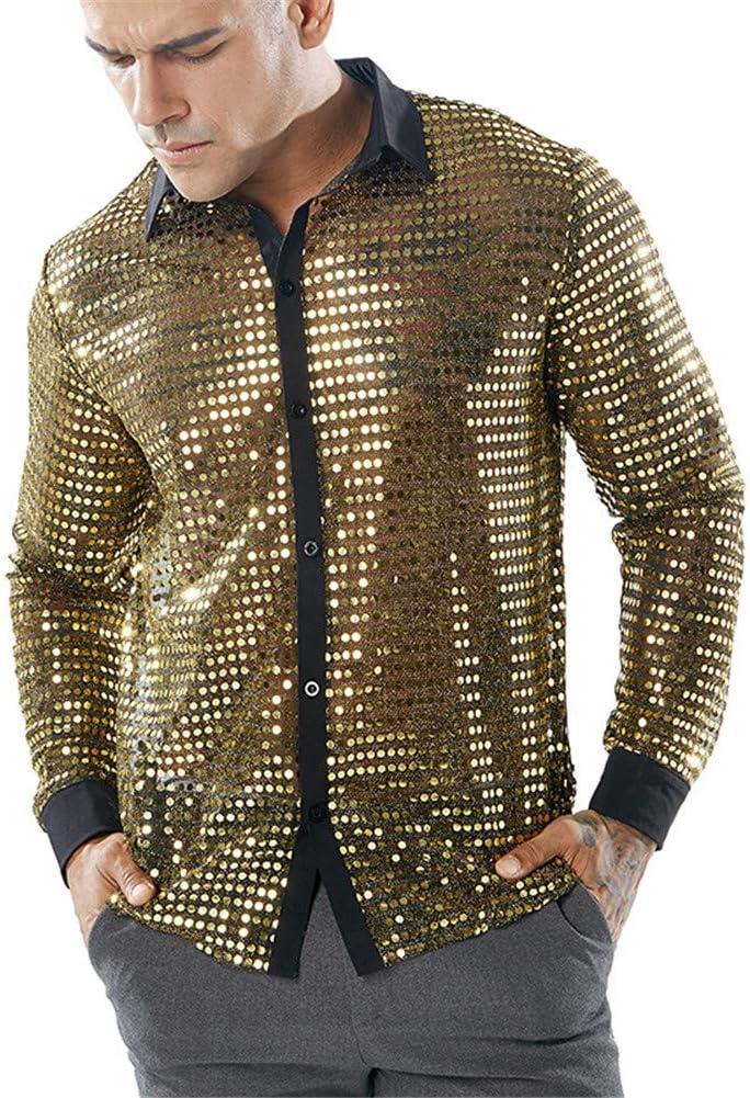 Sijux Camisa de Manga Larga con Botones para Baile de los años 70, para Bodas, Fiestas, Discotecas, Fiestas y Clubes nocturnos, con Lentejuelas, Blusa con Blusa, Large, Dorado: Amazon.es: Deportes y aire