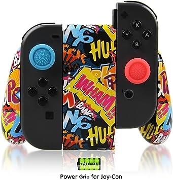 Vniqloo Joy-con Soporte de Carga para Nintendo Switch, Batería Recargable Incorporada de 1200mAh, Grip Carga para Mando Joy-Cons, Cable de Carga USB Tipo C y 2 Pro Thumb Grips incluidos (Graffiti): Amazon.es: