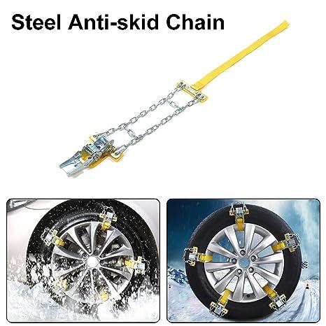 Juego de 5 Cadenas de coche antideslizante Tire, manganeso acero cadena de coche neumático antideslizante