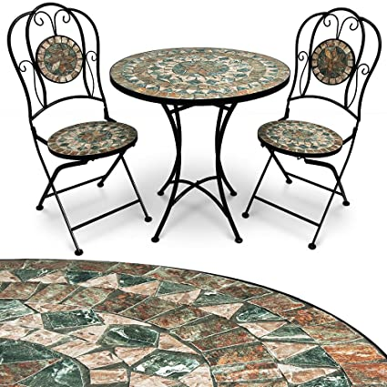 Deuba Conjunto de muebles de jardín Mosaico MALAGA set de mesa y sillas plegables terraza patio metal diseño moderno