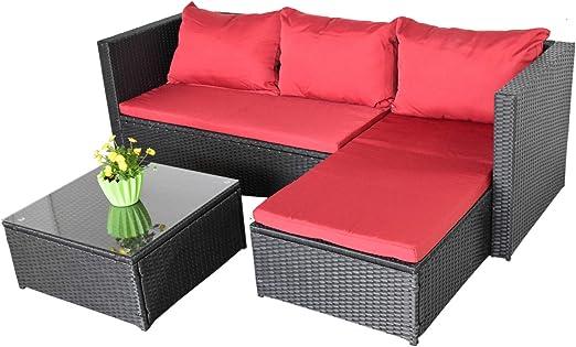 Bergen III - Sofá de jardín, color negro y rojo, equipamiento para ...