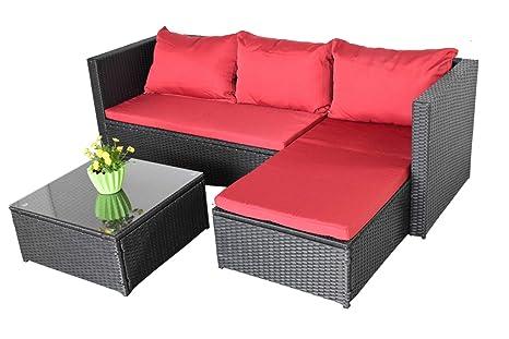Bergen III - Sofá de jardín, color negro y rojo ...