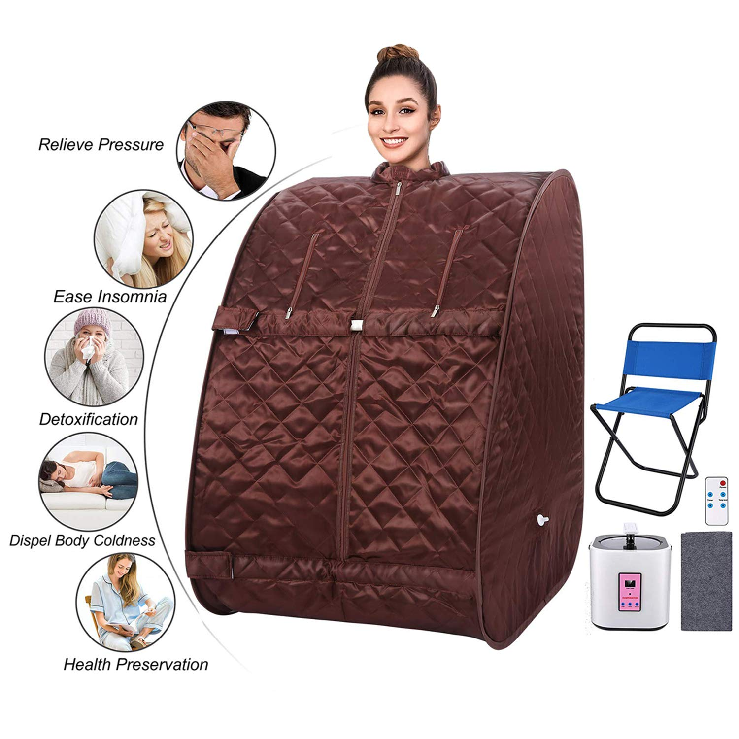 usuallye Steam Sauna Spa 2L Portable Foldable Personal Therapeutic Sauna Tent Pot for Weight Loss Detox Reduce Stress Fatigue with Remote Chair Indoor Home Brown