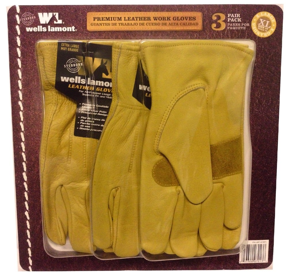 Justin leather work gloves - Amazon Com Wells Lamont Premium Leather Work Gloves 3 Pair Pack X Large Office Products
