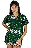 KAMEHAMEHA King Kameha Funky Hawaiian Blouse Women Short Sleeve Front-Pocket Christmas Hats Santa Multiple Colors