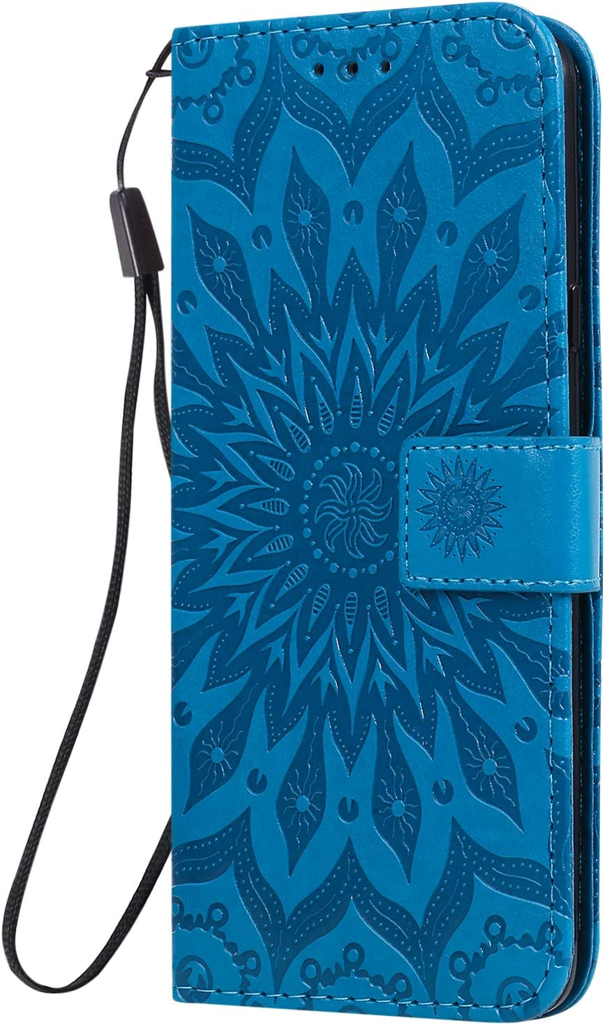 NEXCURIO Wallet Case for Galaxy A20S with Card Holder Side Pocket Kickstand NEKTU020522 Blue Shockproof Leather Flip Cover Case for Samsung Galaxy A20S