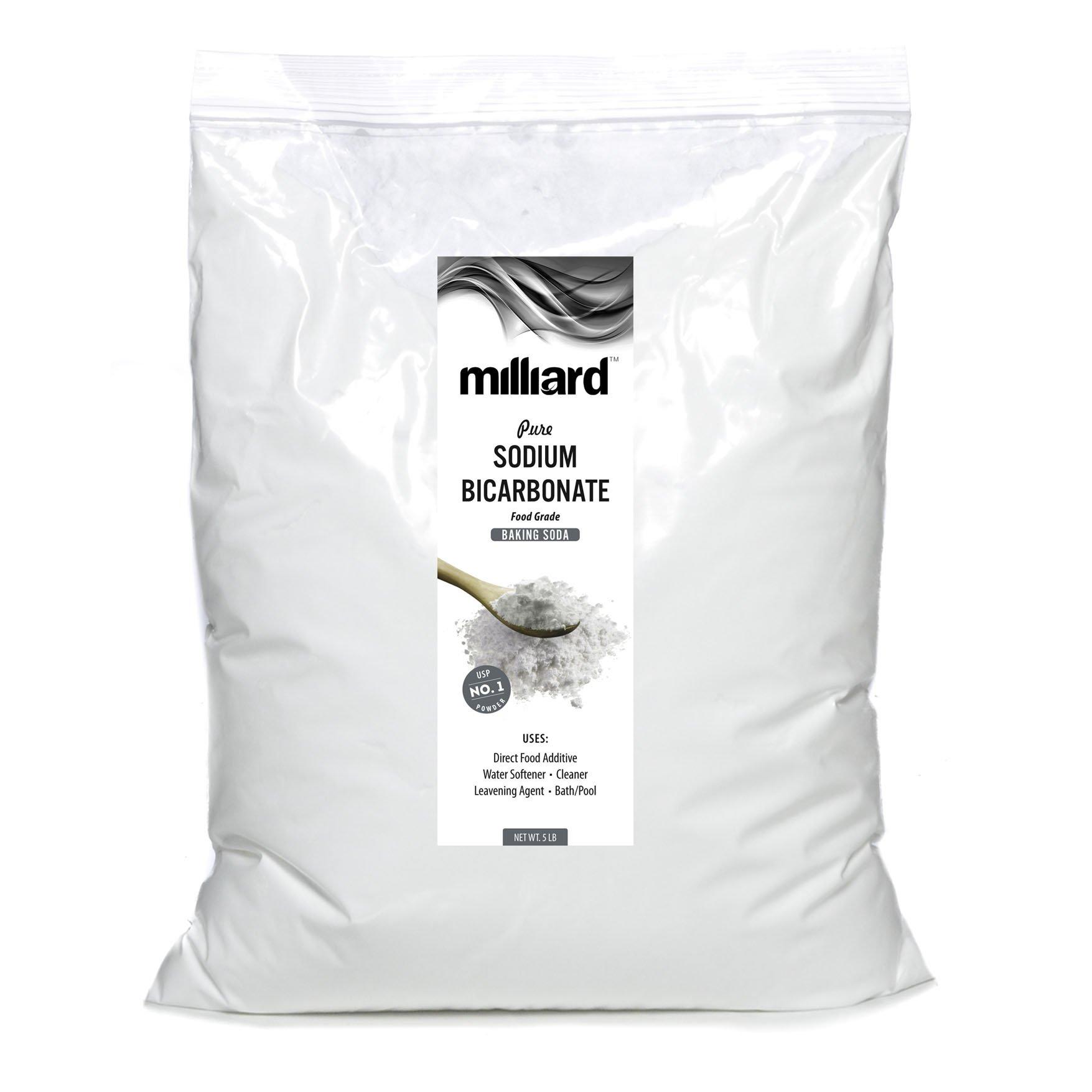 Milliard Sodium Bicarbonate USP - 5 Pound Bulk Resealable Bag (AKA Baking Soda/Bicarbonate of Soda)