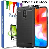POPIO Back Cover Case & Tempered Glass Combo for Oneplus 6T (Transparent Glass & Cover Combo)