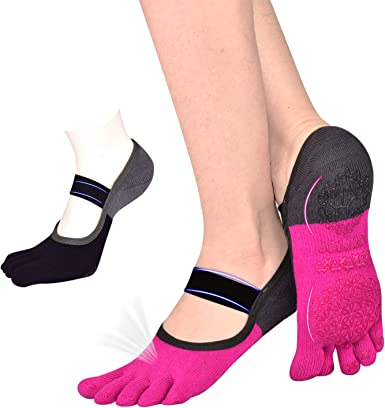 Fun Barre Yoga Pilates Chaussettes-Work for it-Non-Slip Grip-Gris Avec Rose Grip