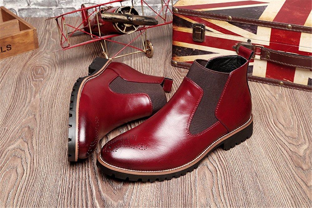 TMKOO Winter Neue Plus Samt Martin Stiefel Herren große Leder : Stiefel Herren Freizeitschuhe (Color : Leder Black+Wool, Größe : 46) Rot 94c03a