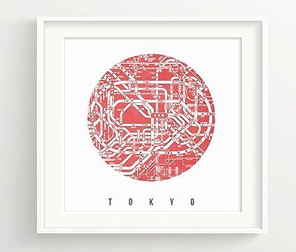 Tokyo Subway Map Framed.Urbandecal Tokyo Subway Map Print Japan Shibuya Shinjuku Ginza Red 8x8