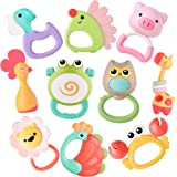 iPlay, iLearn 10 Pcs Animal Baby Rattle Set, Infant Teething Toys, Shaker Grab Spin Rattles, Chew Teether, Toddler Birthday T