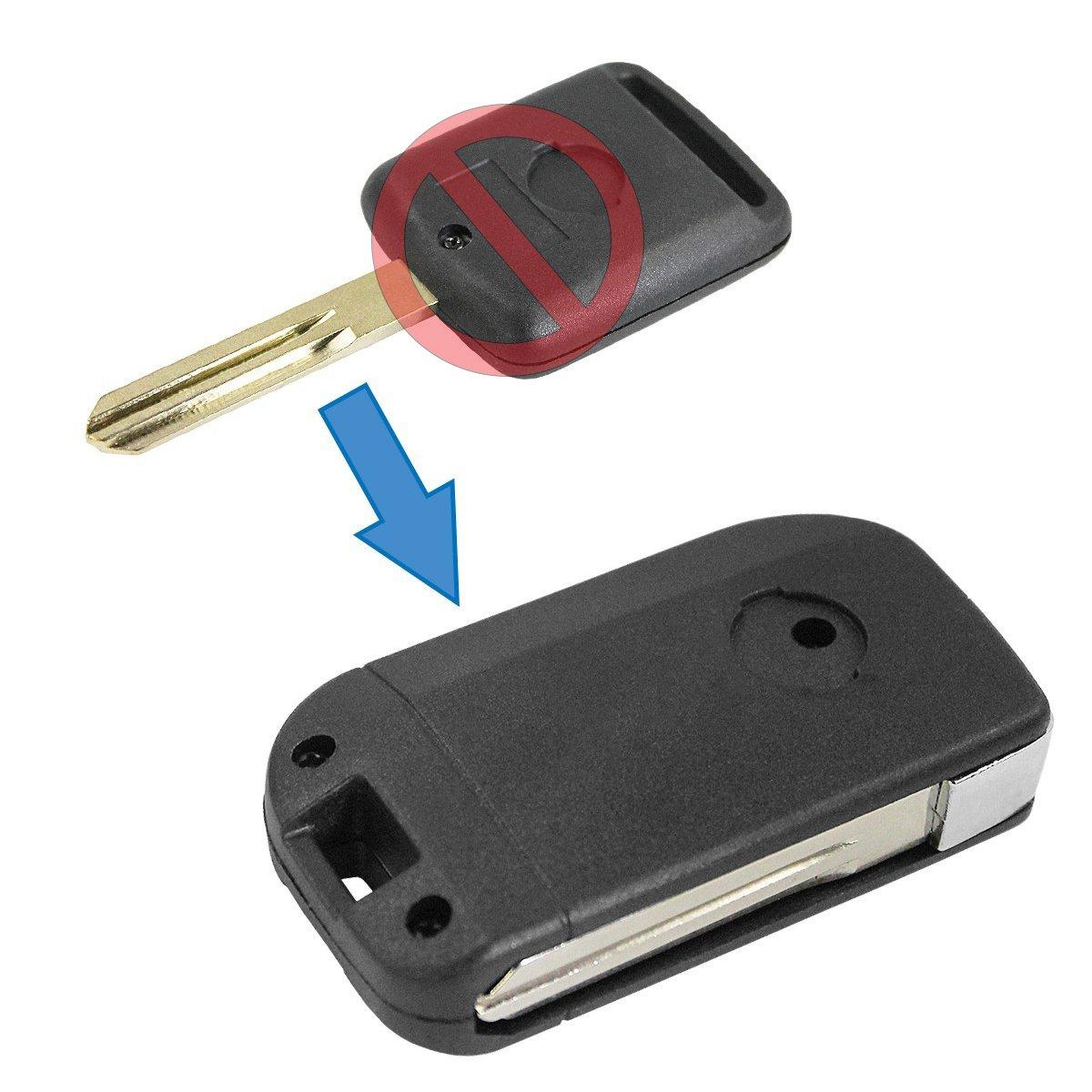 Carcasa Llave Cáscara Kit Conversión modifica mando Negro 2 teclas de hoja de fijación plegable Nissan Qashqai y + 2 chiavit rodillos concha llaves ...