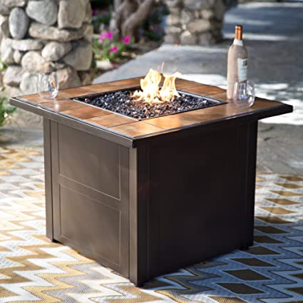 Amazoncom Red Ember Desert Sand In Square Propane Fire Pit - Octagon propane fire pit table
