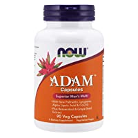 NOW Supplements, ADAM Men's Multivitamin with Saw Palmetto, Lycopene, Alpha Lipoic Acid and CoQ10, Plus Natural Resveratrol & Grape Seed Extract, 90 Veg Capsules