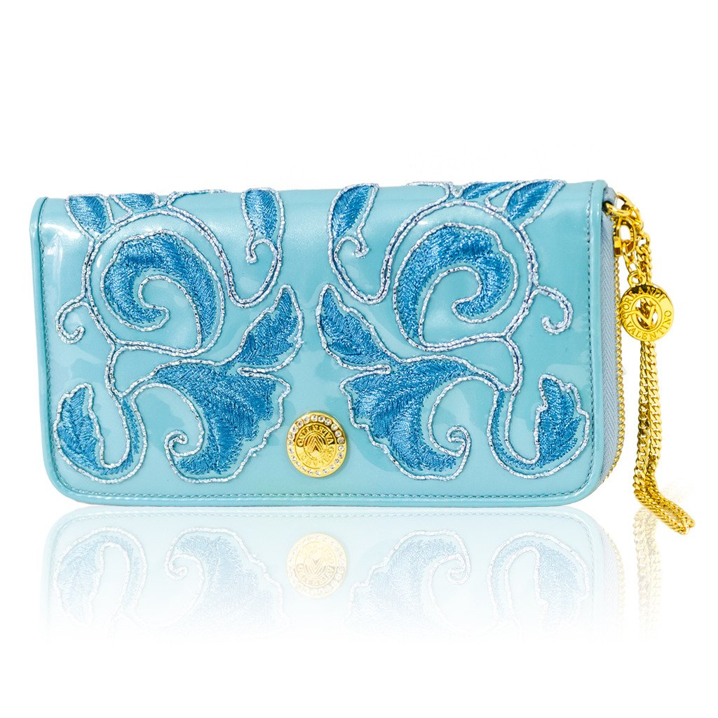 Valentino Orlandi Italian Designer Aquamarine Blue Embroidered Leather Ziparound Wallet
