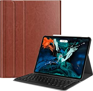 Fintie Keyboard Case for iPad Pro 12.9 3rd Gen 2018 [Supports Apple Pencil 2nd Gen Charging] -Slim Shell Stand Cover w/Magnetically Detachable Wireless Bluetooth Keyboard, Saddle Brown