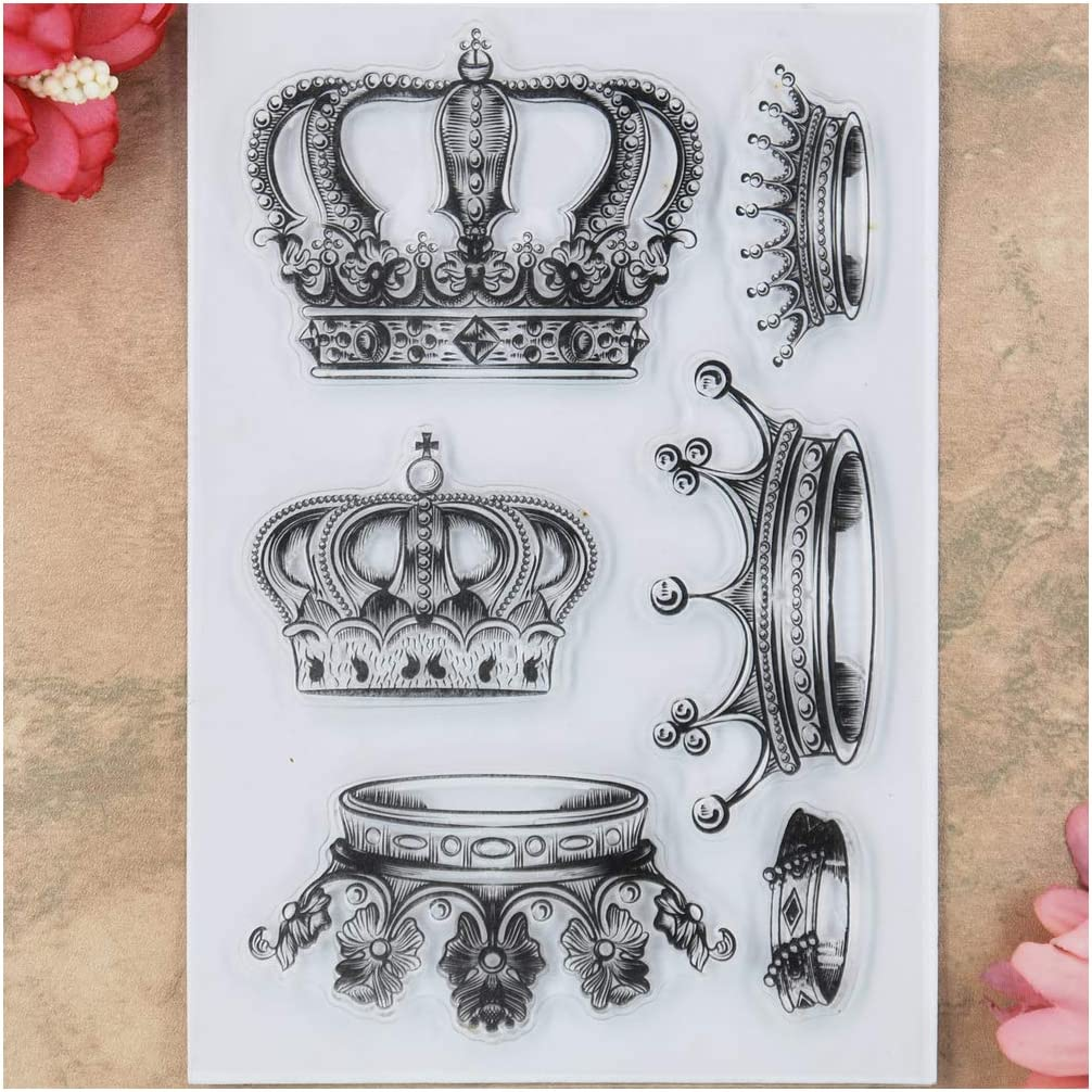 KWELLAM Crown Clear Stamps for Card Making Decoration and DIY Scrapbooking