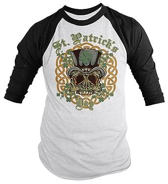 9f64096f Shirts By Sarah Men's St. Patrick's Day Skull Biker 3/4 Sleeve Raglan Shirt