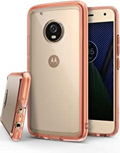 Ringke Fusion Compatible with Motorola Moto G5 Plus Case Crystal Clear PC Back TPU Bumper Case Drop Protection, Shock Absorption Technology - Rose Gold