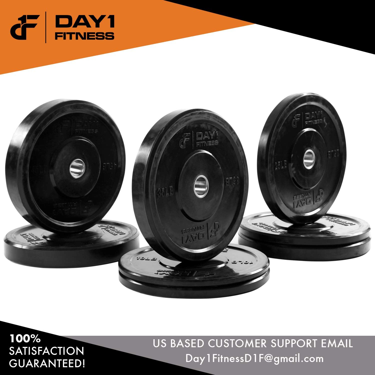 "Day 1 Fitness Olympic Bumper Weighted Plate 2"" for Barbells, Bars – 25 lb Set of 2 Plates - Shock-Absorbing, Minimal Bounce Steel Weights with Bumpers for Lifting, Strength Training, and Working Out by Day 1 Fitness (Image #7)"