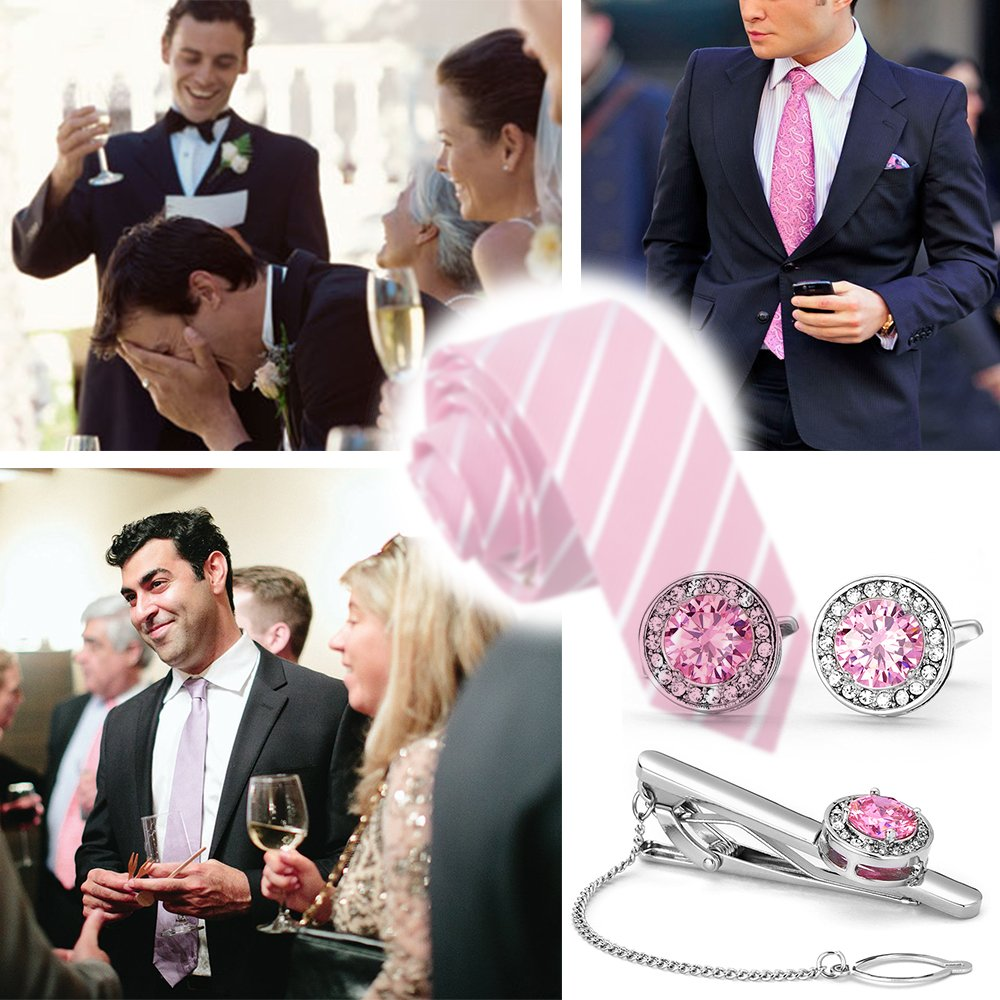 Amazon.com: BagTu Pink Cufflinks and Tie Clip Set in Black Gift Box Pink Crystal Tie Bar with Chain and Cufflinkss Set: Jewelry