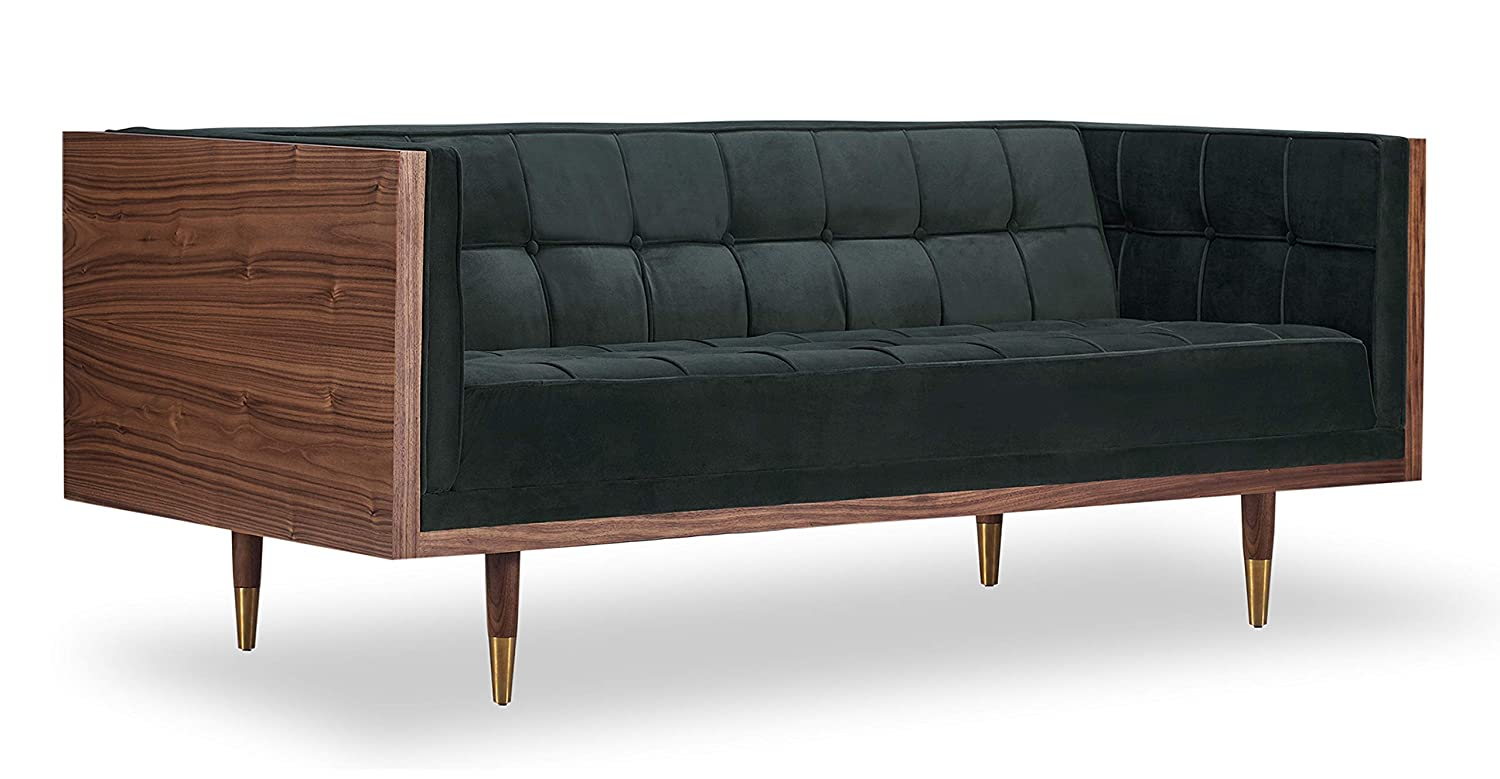 Kardiel Woodrow Mid-Century Modern Box Loveseat Atomic Moss Twill//Walnut