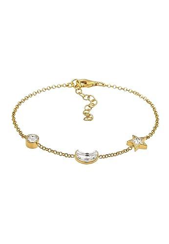 a5c76102b918 Elli Damen Echtschmuck Armband Astro Stern Mond mit Swarovski Kristalle in 925  Sterling Silber 16 cm Länge  Amazon.de  Schmuck