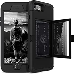 iPhone 8 Plus / 7 Plus Wallet Case - WeLoveCase Defender Wallet Design with Hidden Back Mirror and Card Holder Heavy Duty Hybrid Shockproof Armor Full Protective Case for iPhone 8 Plus/7 Plus - Black