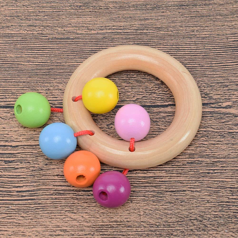 Capture Naturelle de la Dentition Jouet /éducatif Montessori Hochet b/éb/é en Bois Bio Cozyhoma Cloches Arc-en-Ciel
