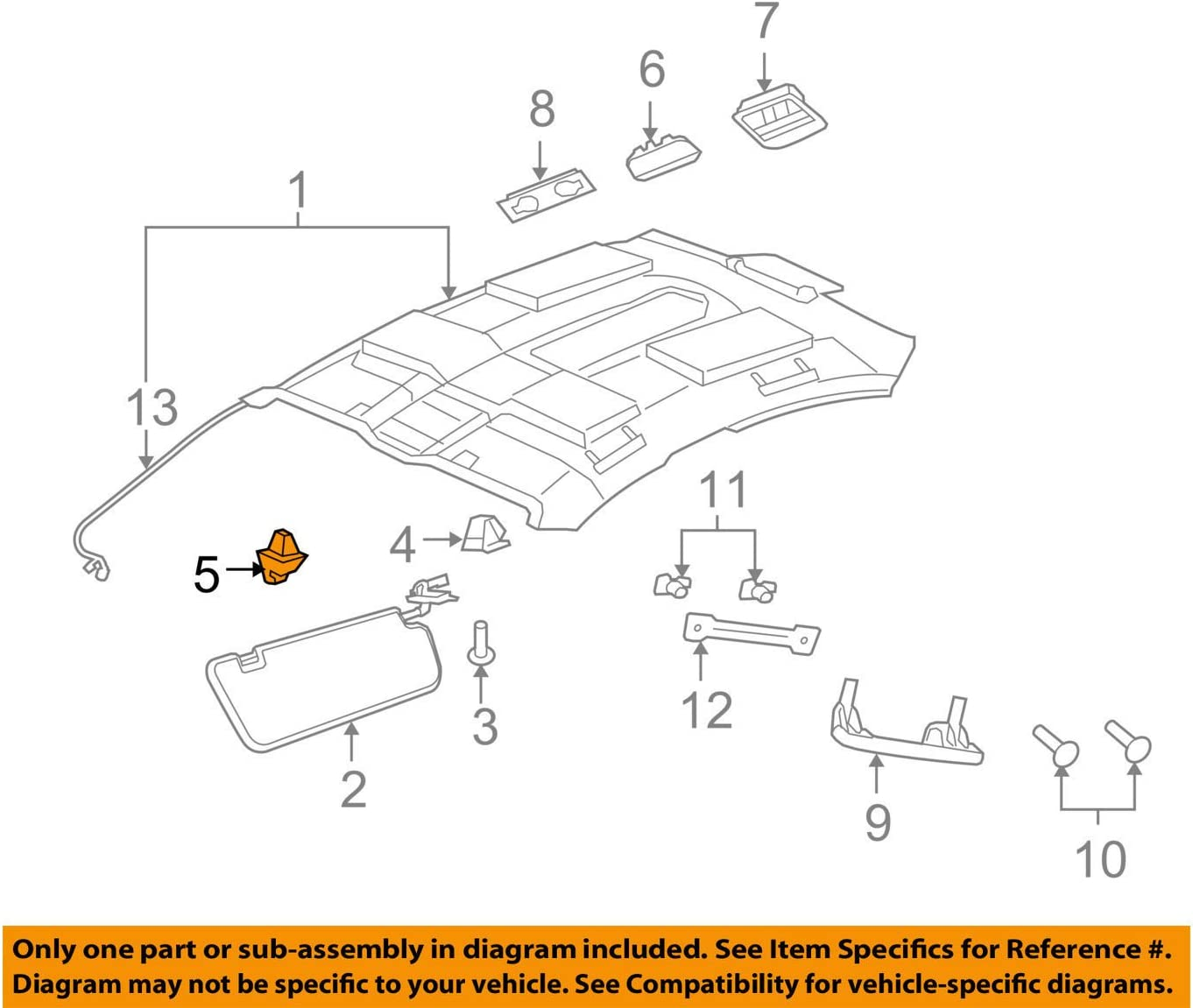 OEM NEW Interior Right or Left Sun Visor Support Clip 08-09 Pontiac G8 13187128
