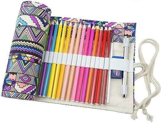 Estuche de tela para lápices de Chengyida, rollo de tela para lápices, estuche para 72 lápices de colores (los lápices no están incluidos), estilo bohemio: Amazon.es: Hogar