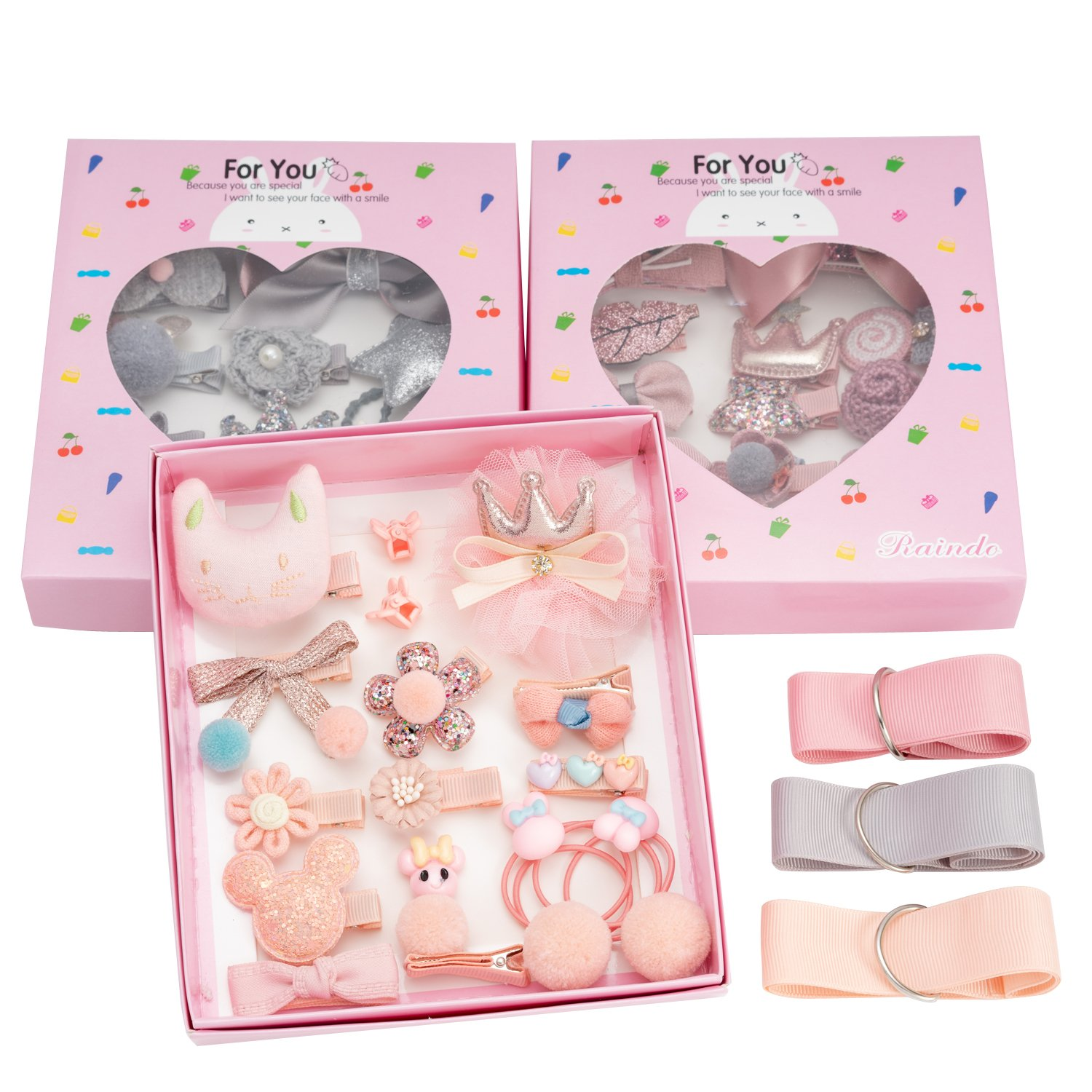 18pcs Toddler Girl Hair Clips Baby Kids Bowknot Barrette Hair Band Birthday Gift (Deep Pink) by handrong (Image #4)