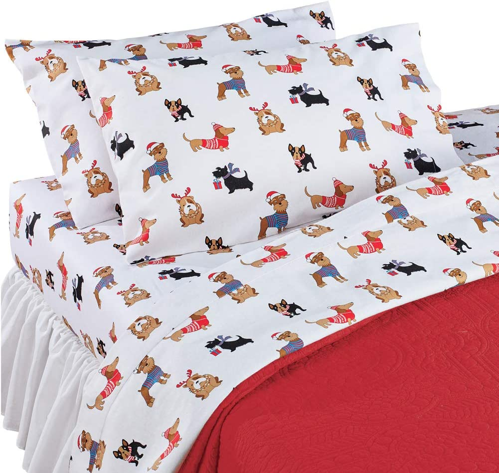 Festive Holiday Dogs Flannel Sheets Set Holiday Bedroom Decor for Dog Lovers