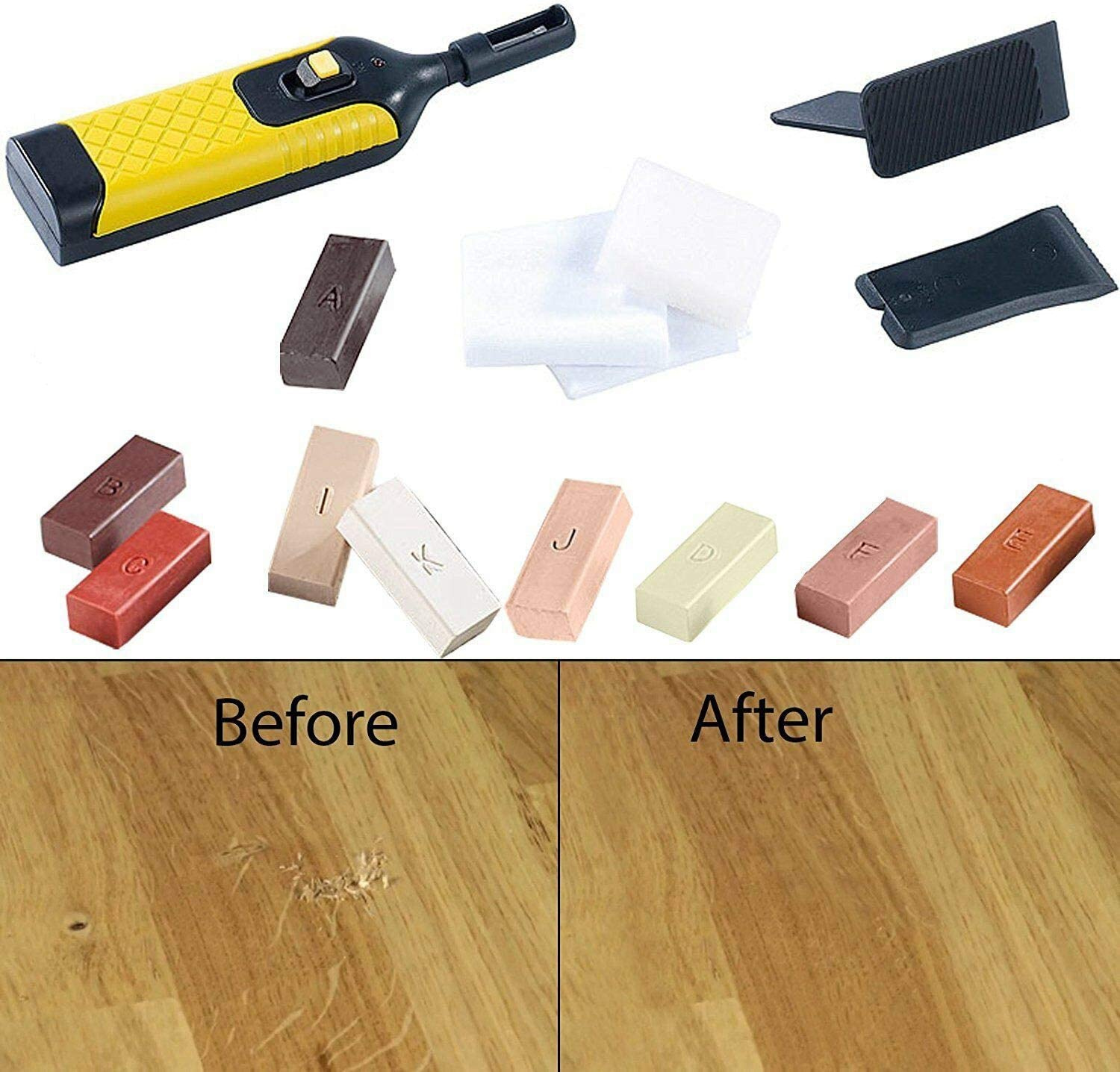 SODIAL 3Pcs Laminate Repair Kit Wax System Floor Worktop Sturdy Case Chips  Scratches