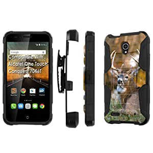 Alcatel [Conquest] Armor Case [SlickCandy] [Black/Black] Heavy Duty Defender [Holster] - [Deer] for Alcatel One Touch Conquest 7046T