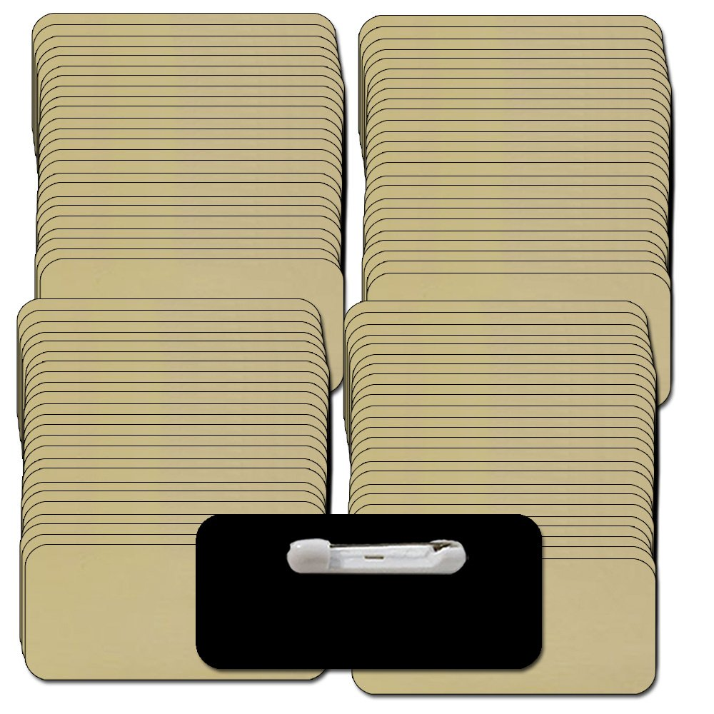 Name Tags / Badges and Pin Fasteners Unattached - 100 Pack Bulk Gold / Black Blank Plastic 1/4th Rounded Corners 1.5'' X 3''