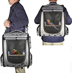 Gatycallaty Bird Carrier Backpack Travel Parrot Bag Cage with Perch Stand for Parakeets Cockatiels Birdcage Vet Car Airlines Airplane Plane Approved Mesh Breathable Lightweight Conure Finches