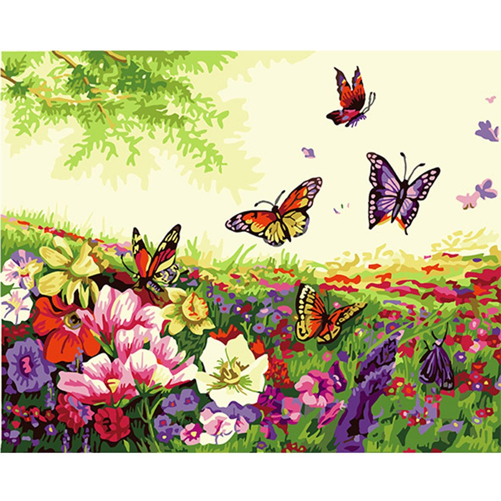 LICSE Paint by Number Kit 16 by 20-Inch Adults Kids Butterfly Dance Fragrance by LICSE (Image #1)