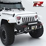 """Razer Auto Black Textured Rock Crawler Stubby Front Bumper with OE Fog Light Hole, 2x D-Ring and Built-In 22"""" LED Light bar mount & Winch Mount Plate (Black) for 07-17 Jeep Wrangler JK"""
