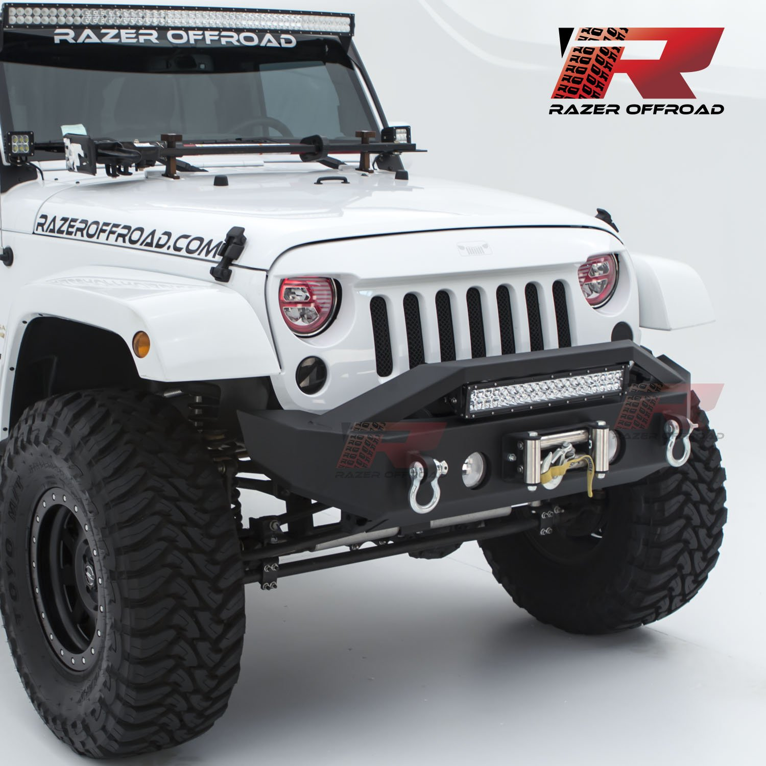 Razer Auto Black Textured Rock Crawler Stubby Front Bumper with OE Fog Light Hole, 2x D-Ring and Built-In 22' LED Light bar mount & Winch Mount Plate (Black) for 07-18 Jeep Wrangler JK