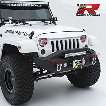 Razer auto black textured rock crawler stubby front bumper with oe fog light hole 2x d ring and built in 22 led light bar mount winch mount plate razer auto black textured rock crawler stubby front bumper with oe fog light hole 2x aloadofball Image collections