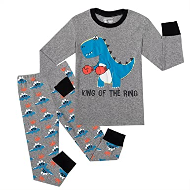 PHOEBE CAT Boys Pajamas Dinosaur Sleepwear Little Kids 100% Cotton PJS children Pant Sets Toddler