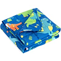 """Mr. Sandman Weighted Blanket for Kids 3 Pounds Washable, Cooling Natural Cotton Heavy Blanket Helps to Quality Sleep - 36"""" x 48"""" Blue Dinosaur"""